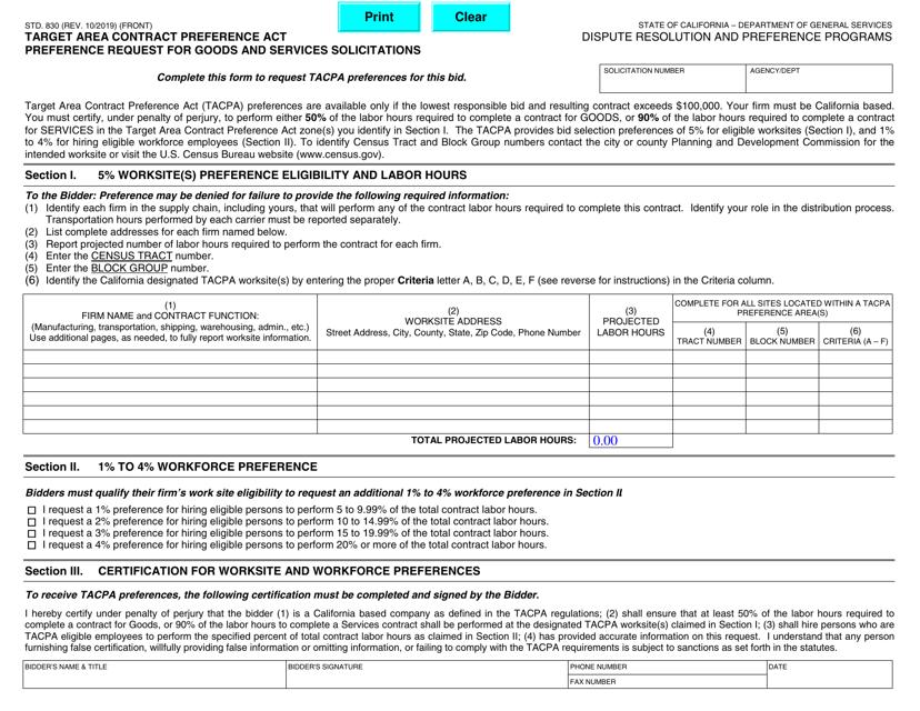 Form STD.830 Printable Pdf