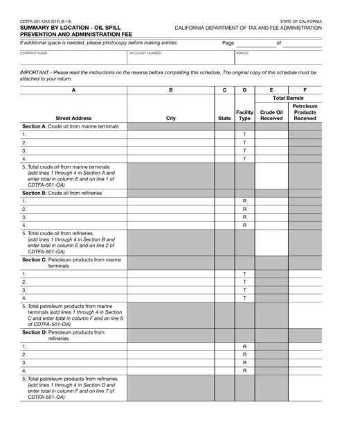 Form CDTFA-501-OAX  Printable Pdf