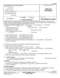 """Formulario FL-692 """"Actas Y Orden O Fallo (Gubernamental)"""" - California (Spanish)"""