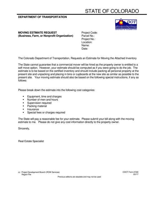 CDOT Form 530  Printable Pdf
