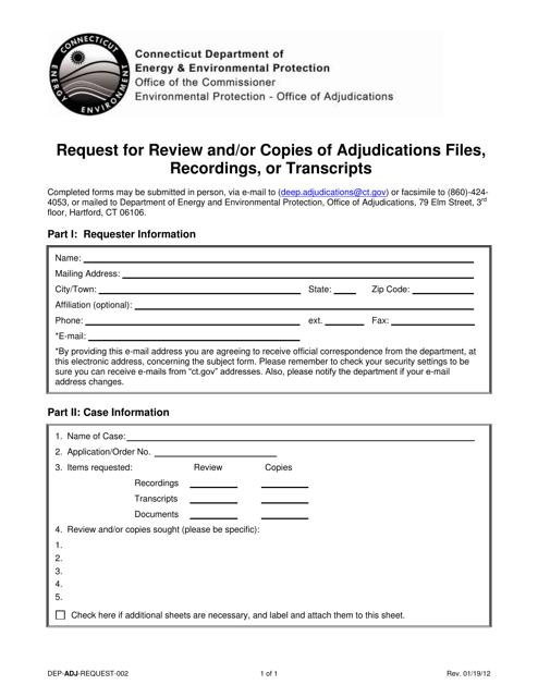 Form DEP-ADJ-REQUEST-002  Printable Pdf