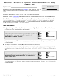 "Form DEEP-NSR-APP-216 Attachment I ""Prevention of Significant Deterioration of Air Quality (Psd) Program Form"" - Connecticut"
