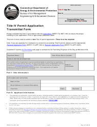 "Form DEEP-TIV-APP-100 ""Title IV Permit Application Transmittal Form"" - Connecticut"