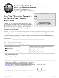 "Form DEEP-TV-APP-100 ""New Title V Permit or Renewal of an Existing Title V Permit Application"" - Connecticut"