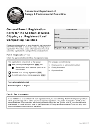"Form DEEP-RCY-REG-006 ""General Permit Registration Form for the Addition of Grass Clippings at Registered Leaf Composting Facilities"" - Connecticut"