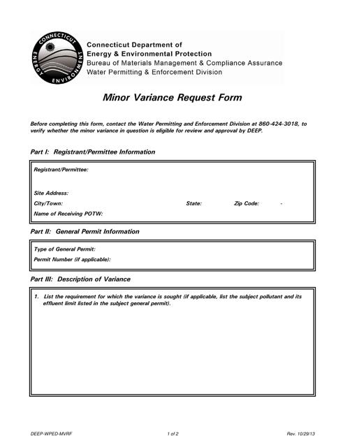 Form DEEP-WPED-MVRF  Printable Pdf