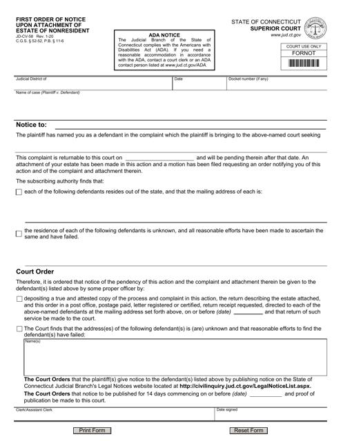 Form JD-CV-058  Printable Pdf