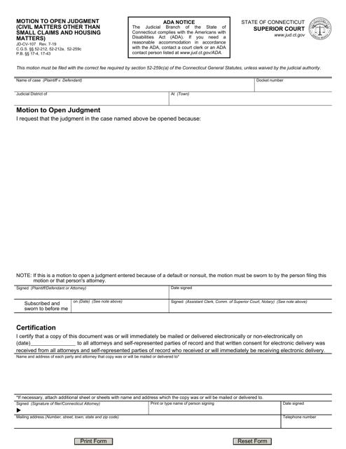 Form JD-CV-107  Printable Pdf