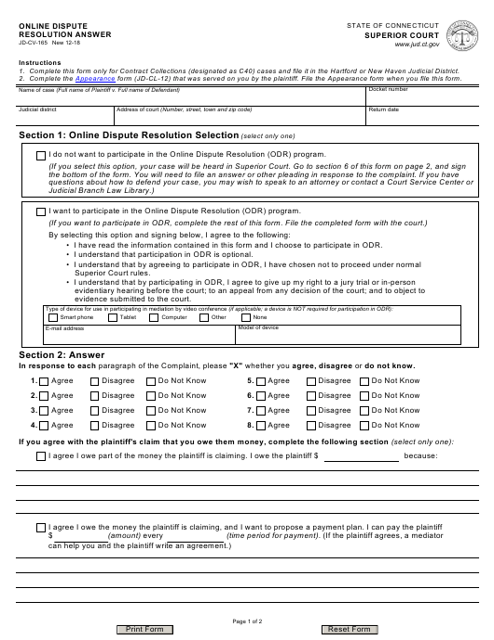 Form JD-CV-165  Printable Pdf