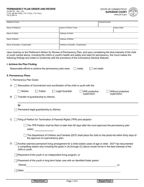 Form JD-JM-129 Printable Pdf