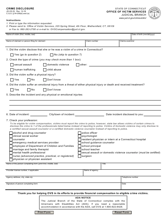 Form JD-VS-35  Printable Pdf
