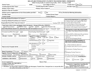"""Delaware Interagency Patient Transfer Form - Emergent"" - Delaware"