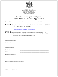 "HP Form 2 ""Fund Account Closure Application"" - Delaware"