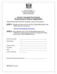 "HP Form 2 ""Fund Account Closure Application"" - Delaware"