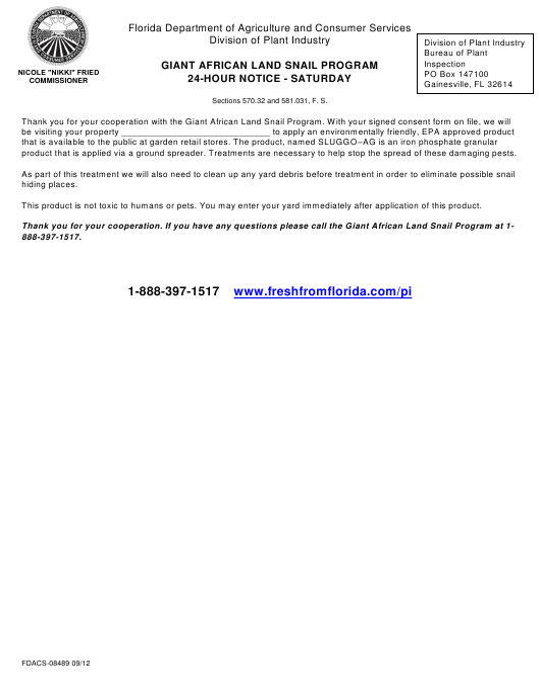 Form FDACS-08489  Printable Pdf