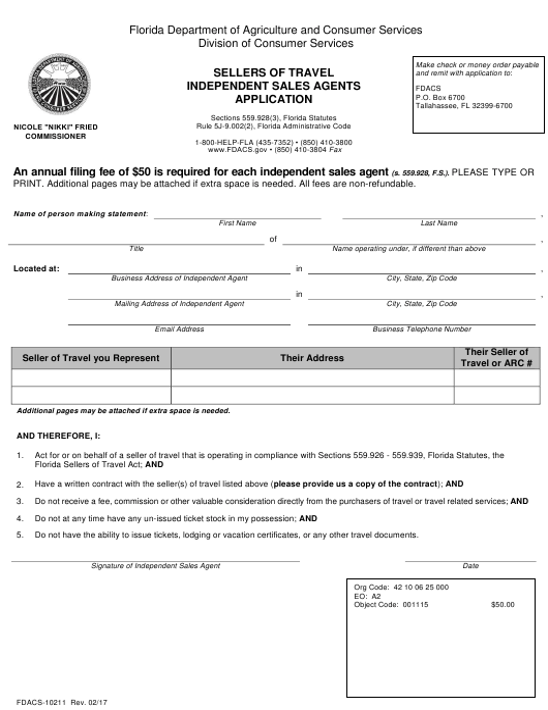 Form FDACS-10211  Printable Pdf