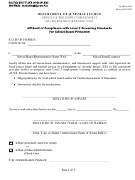 "Form IG/BSU-008 ""Affidavit of Compliance With Level 2 Screening Standards for School Board Personnel"" - Florida"