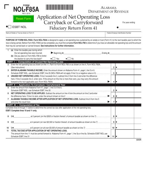 Form NOL-F85A  Printable Pdf