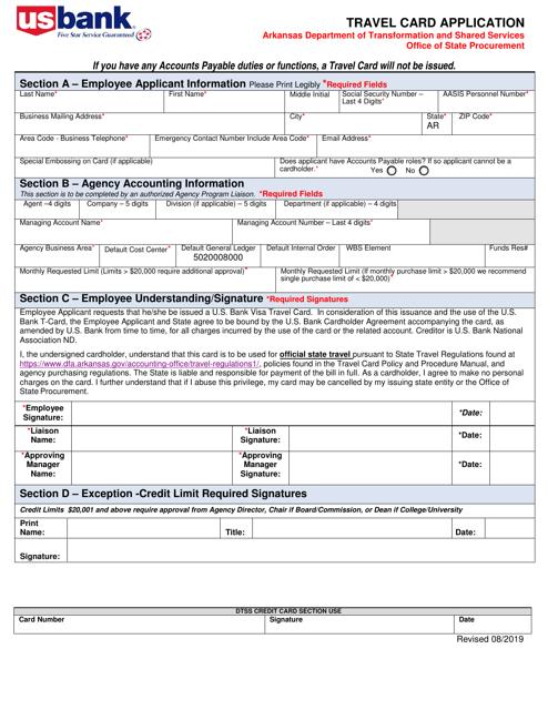 """Travel Card Application/Agreement"" - Arkansas Download Pdf"