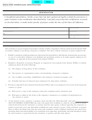 "Form STD.21 ""Drug-Free Workplace Certification"" - California"