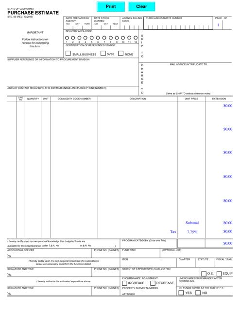 Form STD.66  Printable Pdf