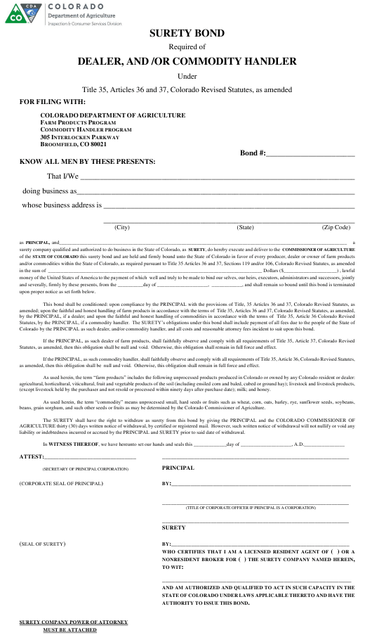 """""""Surety Bond Required of Dealer, and /Or Commodity Handler"""" - Colorado Download Pdf"""