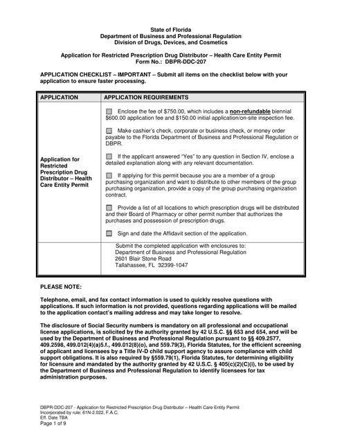 Form DBPR-DDC-207  Printable Pdf