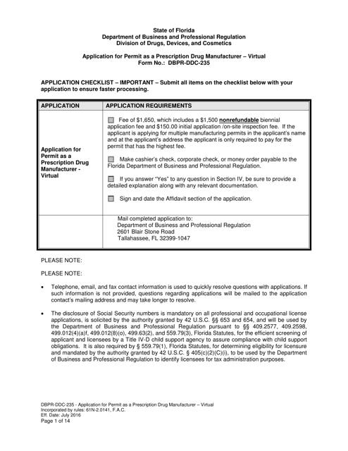 Form DBPR-DDC-235  Printable Pdf