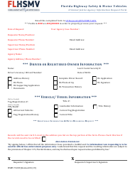 "Form HSMV73209 ""Criminal Justice Agency Information Request Form"" - Florida"