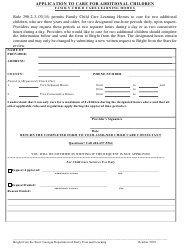 """""""Application to Care for Additional Children Family Child Care Learning Homes"""" - Georgia (United States)"""