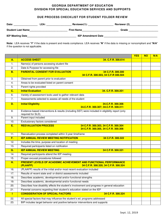 """Due Process Checklist for Student Folder Review"" - Georgia (United States) Download Pdf"