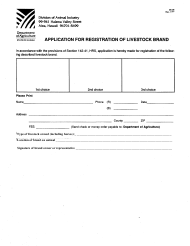 "Form DC-29 ""Application for Registration of Livestock Brand"" - Hawaii"