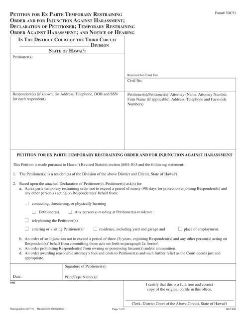 Form 3DC51  Printable Pdf