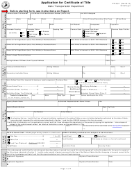 """Form ITD3337 """"Application for Certificate of Title"""" - Idaho"""