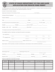 "Form SP-116 ""Application for Private Pond Permit"" - Idaho"