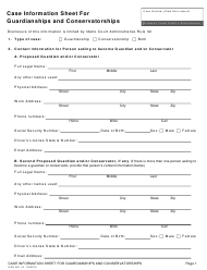 """Form CAO GC1-5 """"Case Information Sheet for Guardianships and Conservatorships"""" - Idaho"""