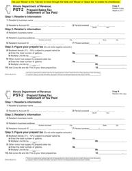 """Form PST-2 """"Prepaid Sales Tax Statement of Tax Paid"""" - Illinois"""