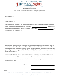 """""""Voluntary Withdrawal Request Form"""" - Illinois"""
