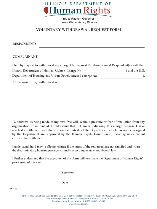 """Voluntary Withdrawal Request Form"" - Illinois Download Pdf"