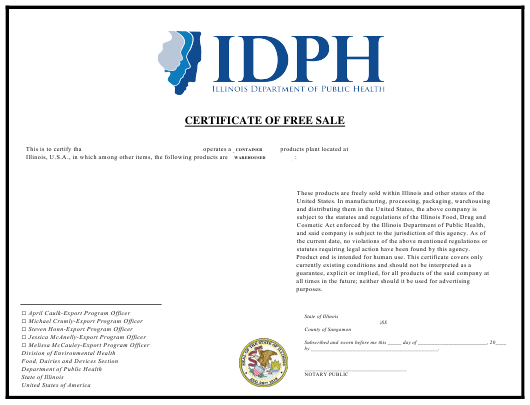 """""""Certificate of Free Sale - Small Font Template"""" - Illinois Download Pdf"""