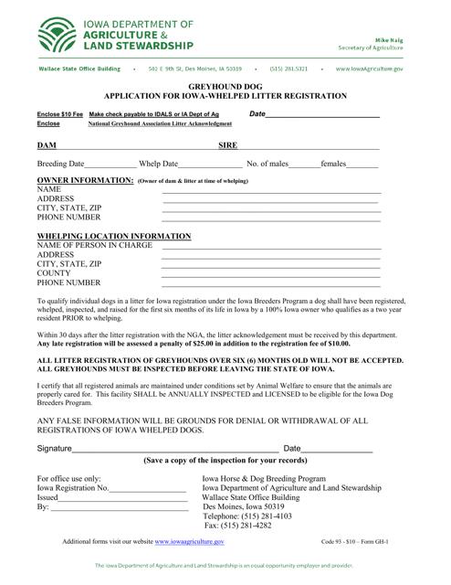 Form GH-1  Printable Pdf