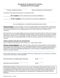 """Formulario KDADS FAI200 """"Documento De Evaluacion De La Funcion Resultado Del Nivel De Cuidado"""" - Kansas (Spanish)"""