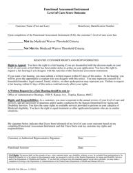 "Form KDADS FAI200 ""Functional Assessment Instrument Level of Care Score Outcome"" - Kansas"