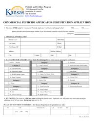 "Form KPL-300 ""Commercial Pesticide Applicator Certification Application"" - Kansas"