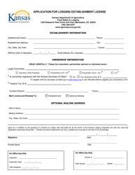 """""""Application for Lodging Establishment License"""" - Kansas"""
