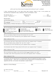 """""""Application for a Diary Manufacturing Plant License"""" - Kansas"""