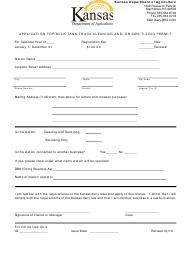 """""""Application for Milk Tank Truck Cleaning and/or Sanitizing Permit"""" - Kansas"""