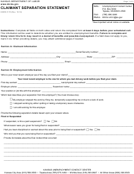 "Form K-BEN3110 ""Claimant Separation Statement"" - Kansas"