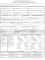 "Form VS243 ""Worksheet for Divorce or Annulment Registration"" - Kansas"