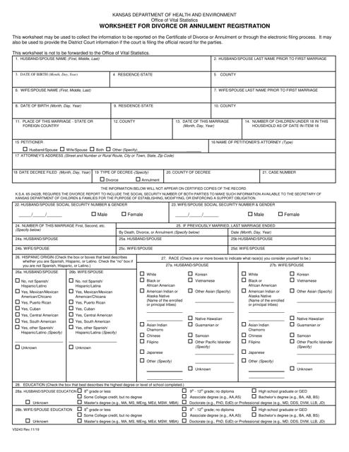 Form VS243  Printable Pdf